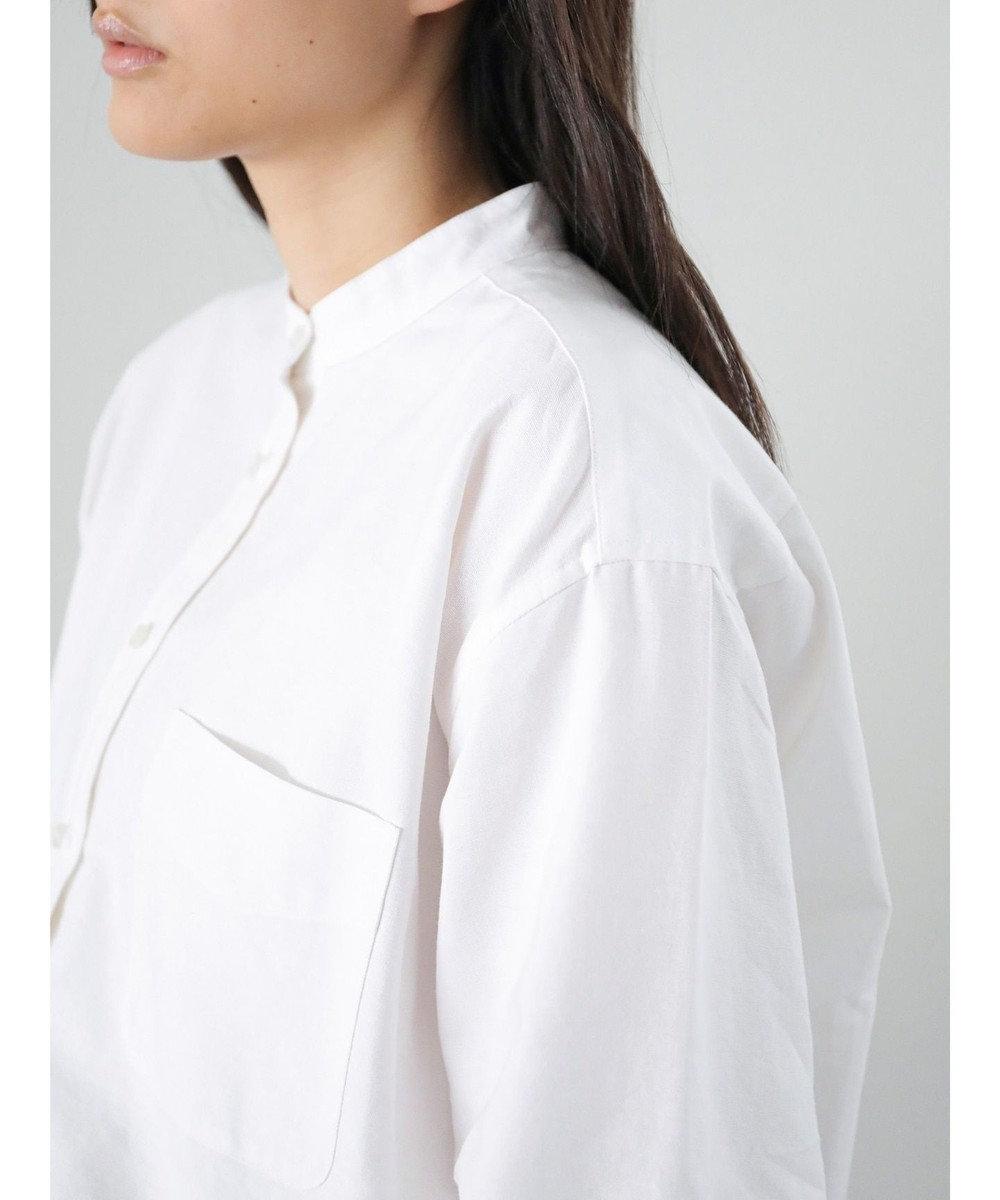 AMERICAN HOLIC スタンドカラー綿オックスシャツ Off White
