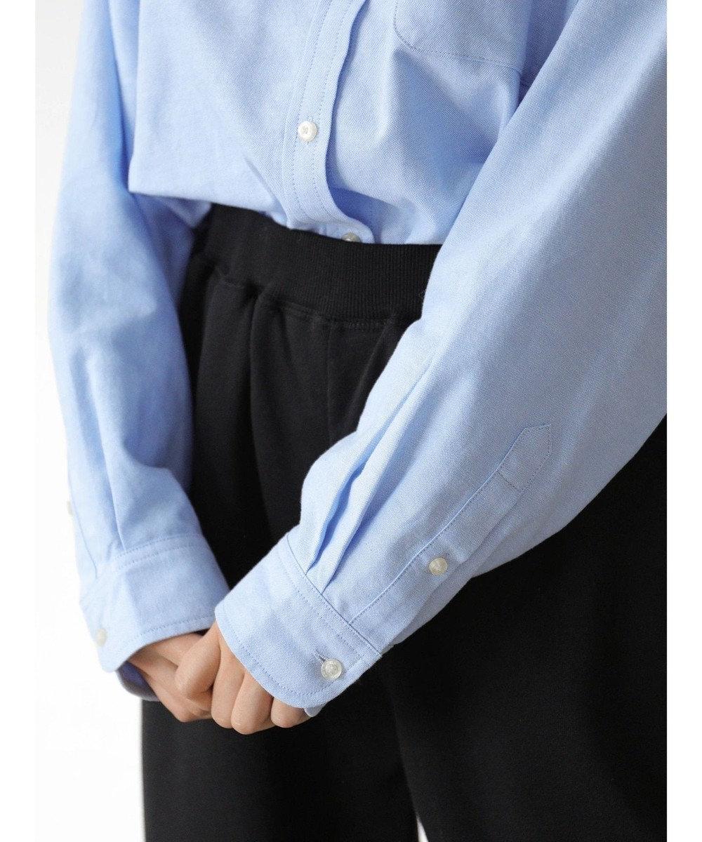 AMERICAN HOLIC スタンドカラー綿オックスシャツ Sax
