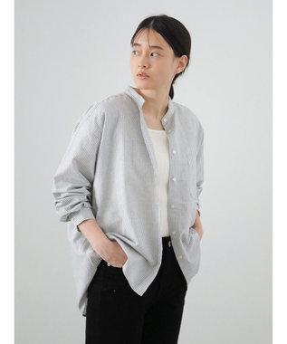 AMERICAN HOLIC スタンドカラー綿オックスシャツ Stripe