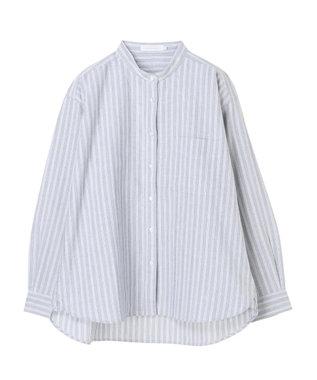 AMERICAN HOLIC スタンドカラー綿オックスシャツ Stripe Navy
