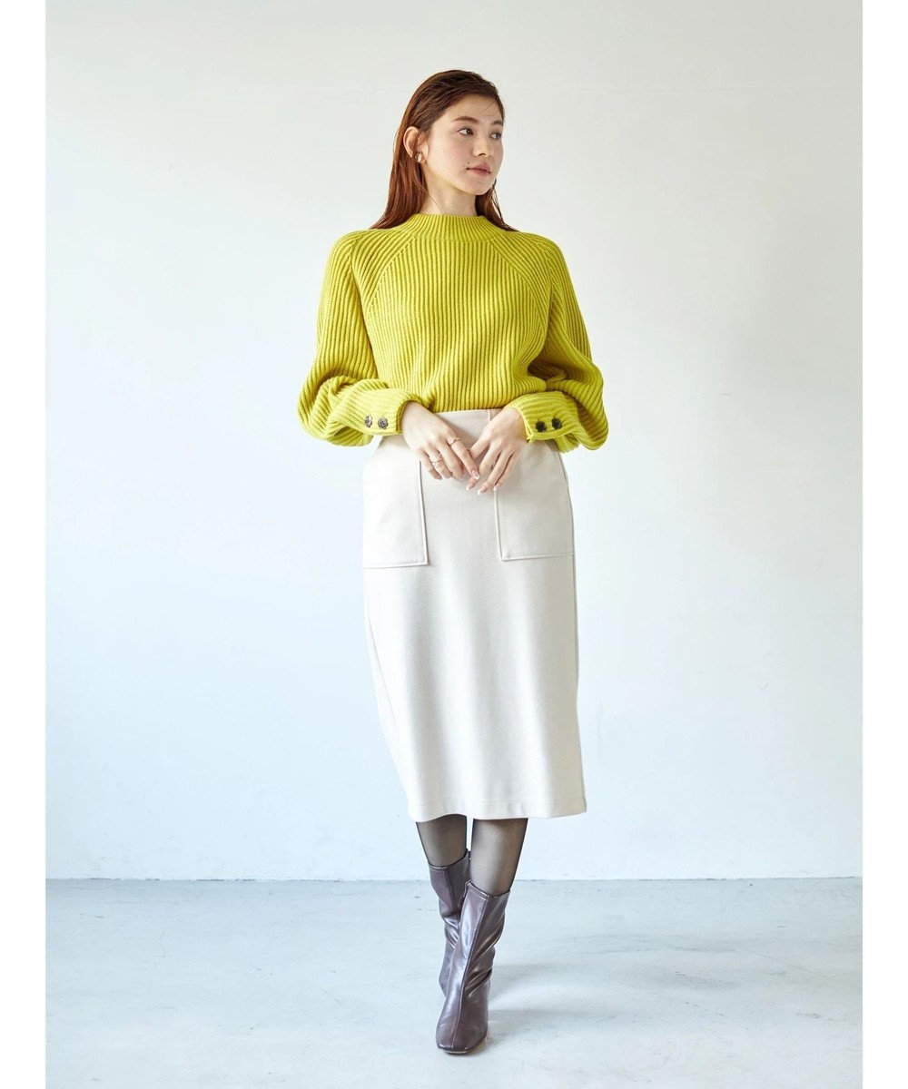 YECCA VECCA ・釦×ボリューム袖ハイネックニット Yellow