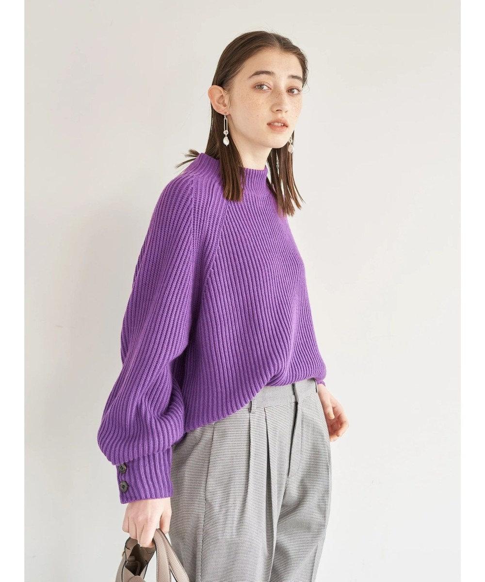 YECCA VECCA ・釦×ボリューム袖ハイネックニット Purple