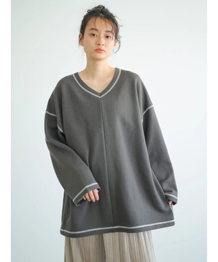 AMERICAN HOLIC Vネック裏毛チュニック Charcoal Gray