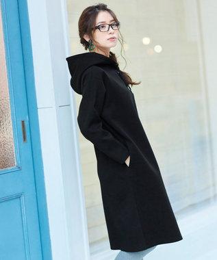 Tiaclasse 【リラックス】ソフトな風合いが魅力のボンディングパーカーワンピース ブラック