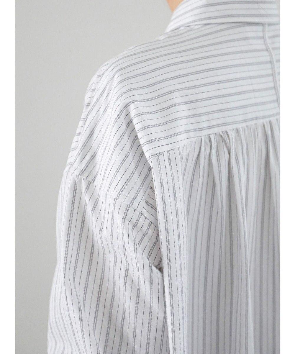 AMERICAN HOLIC レギュラーカラー比翼シャツチュニック Stripe Ivory