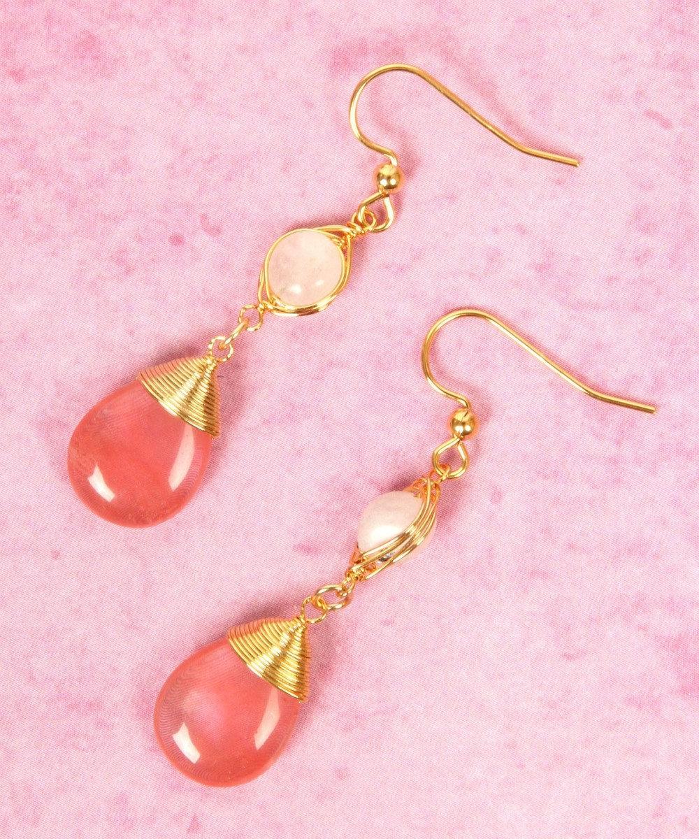 WYTHE CHARM 【虹色カラフル天然石】K14GF ワイヤード天然石2粒ピンクピアス ピンク
