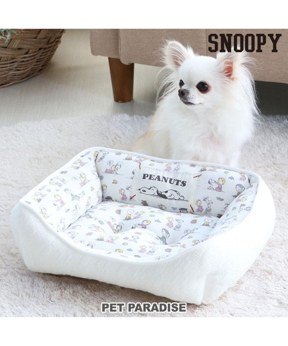 PET PARADISE   犬用品 ペットグッズ ベッド ベット ペットパラダイス 犬 春 ペット ベッド スヌーピー カドラーベッド(38×32cm) ベイビー 犬 猫 ベッド マット 小型犬 介護 おしゃれ かわいい ふわふわ あごのせ 白~オフホワイト