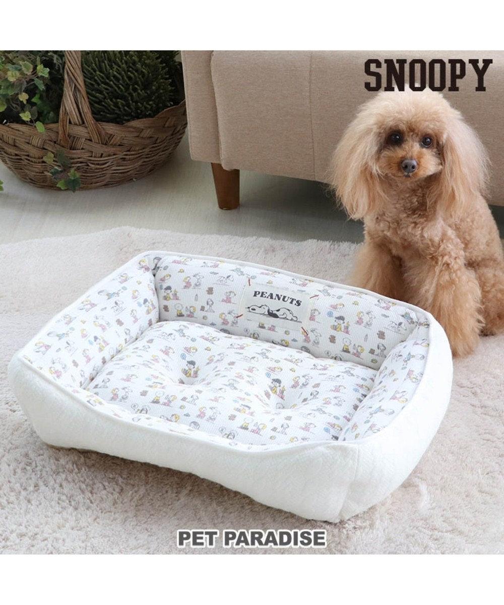 PET PARADISE   犬用品 ペットグッズ ベッド ベット ペットパラダイス 犬 春 ペット ベッド スヌーピー カドラーベッド(57×45cm) ベイビー 犬 猫 ベッド マット 小型犬 介護 おしゃれ かわいい ふわふわ あごのせ 白~オフホワイト