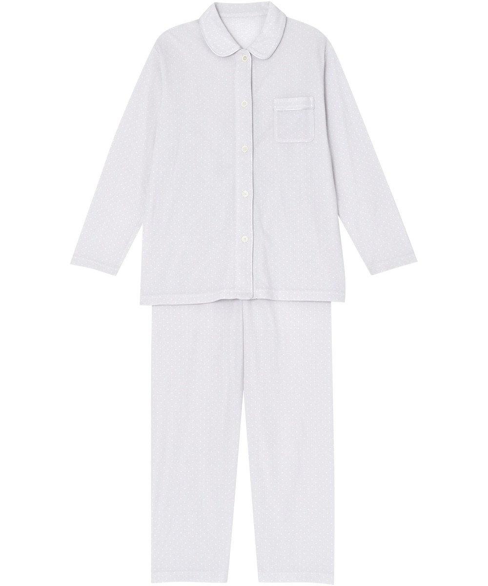 Wing 【パジャマ】小さな水玉柄 ロング袖・ロングパンツ ウイング/ワコール EP3002 グレー