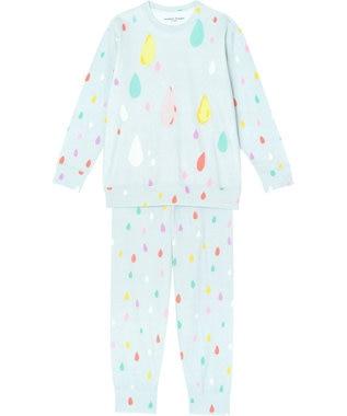 tsumori chisato SLEEP パジャマ ロング袖ロングパンツ しずく柄 /ワコール UDO663 サックス