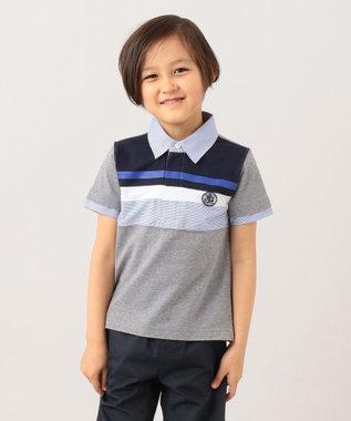 J.PRESS KIDS 【120-130cm】40/2天竺ブロッキング ラガーシャツ グレー系