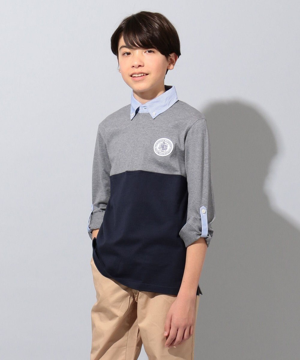 J.PRESS KIDS 【2WAY/140-170cm】40/2天竺カフスロールアップ ラガーシャツ グレー系