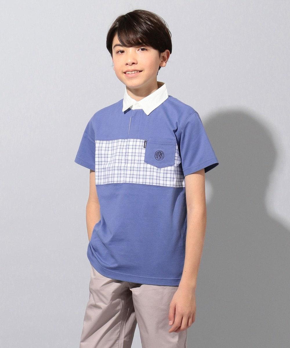 J.PRESS KIDS 【140-170cm】40/2天竺 チェック切り替え ラガーシャツ ブルー系