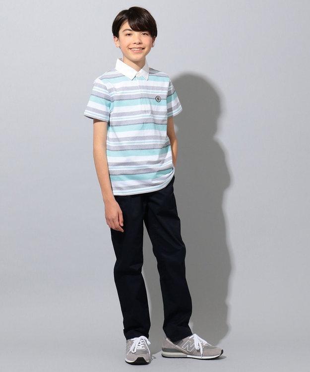 J.PRESS KIDS 【140-170cm】ジャカード天竺ボーダー ラガーシャツ