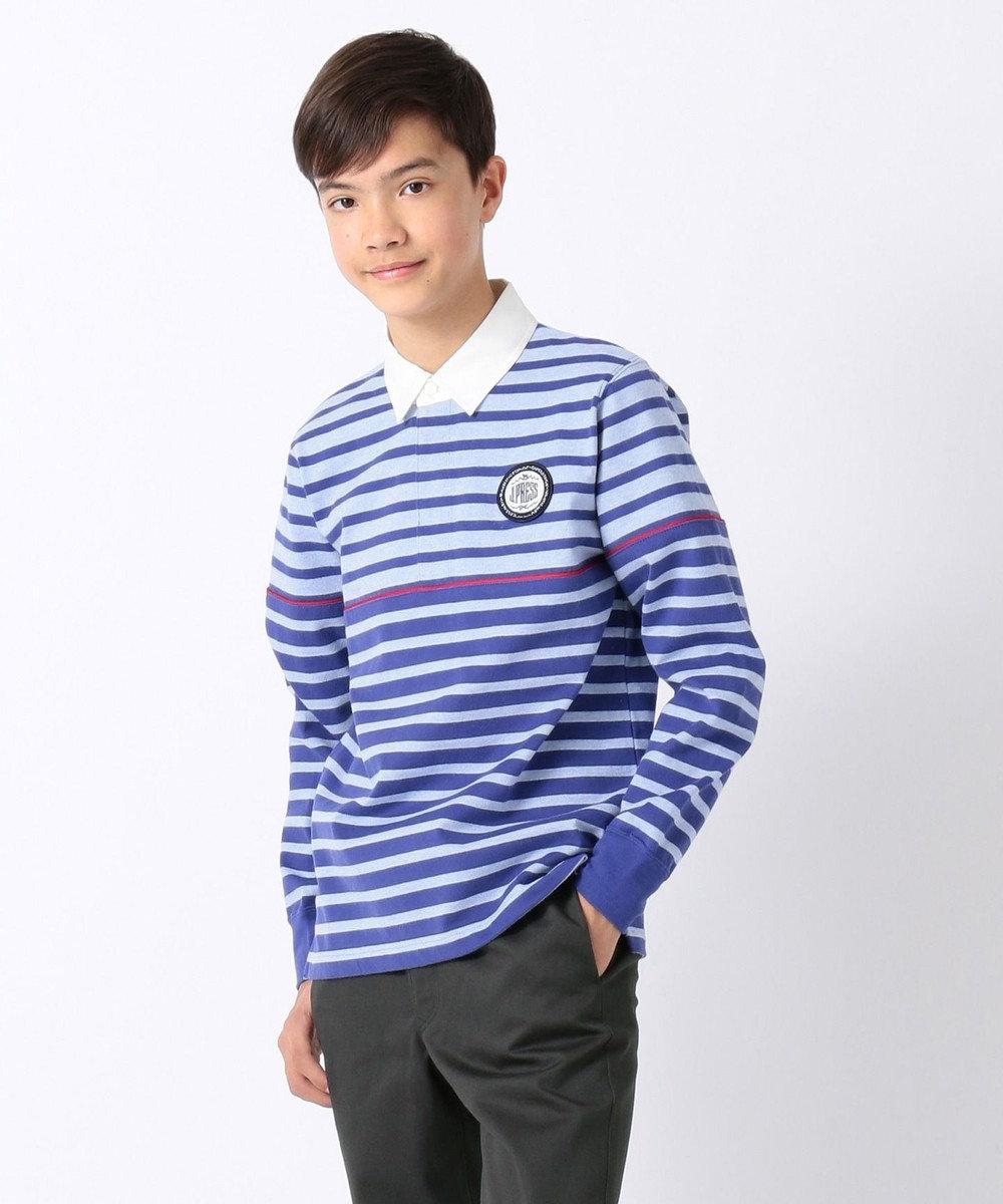 J.PRESS KIDS 【140-170cm】バイカラー ボーダー ラガーシャツ ブルー系