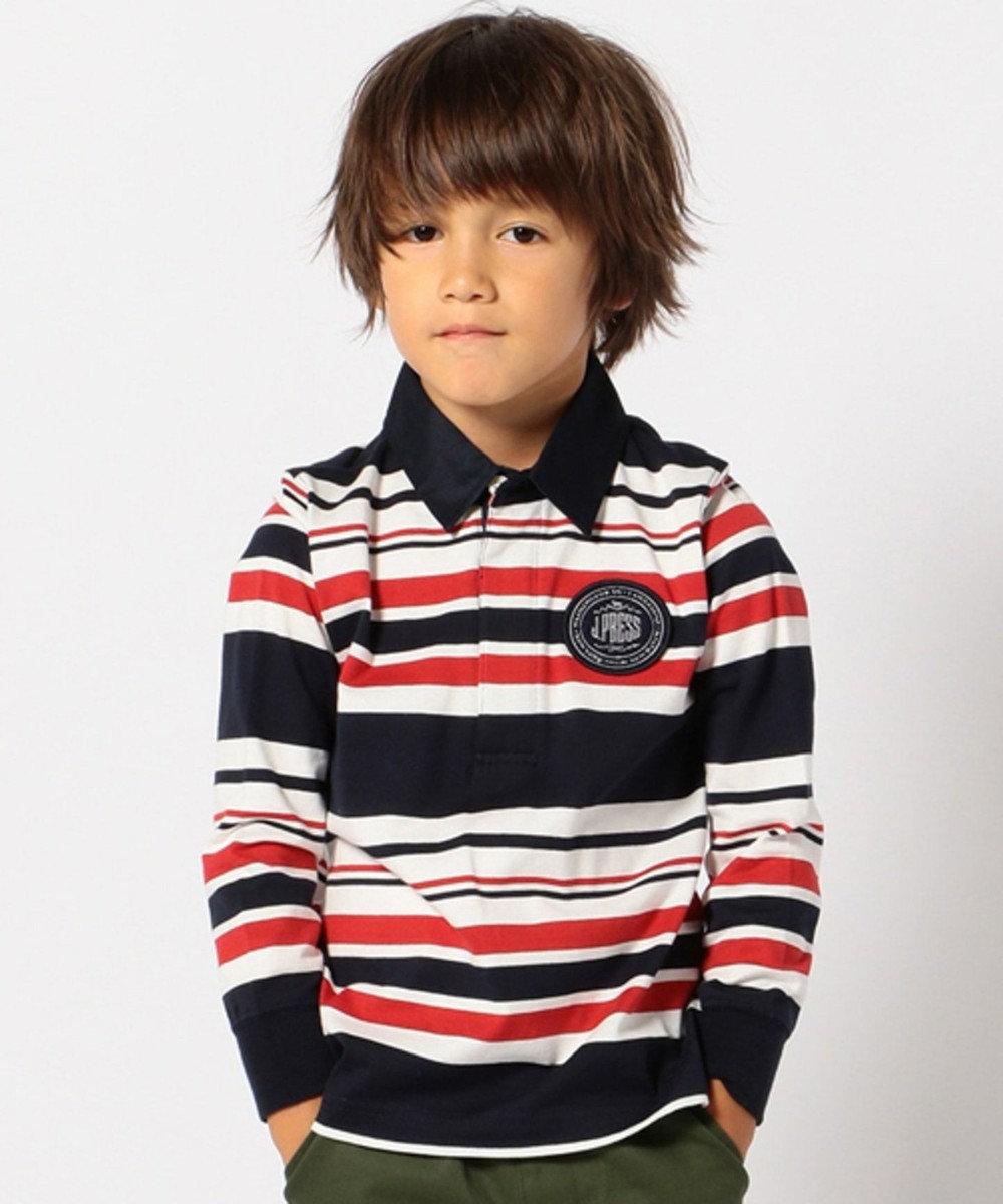 J.PRESS KIDS 【SCHOOL】40/2マルチボーダーラガー ポロシャツ オレンジ系1