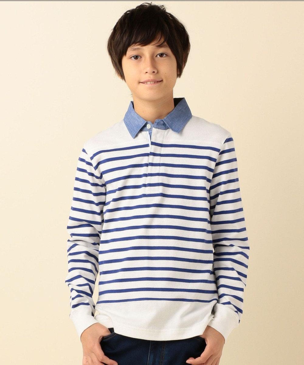 J.PRESS KIDS 【SCHOOL】20/2ボーダーラガー ポロシャツ アイボリー系1