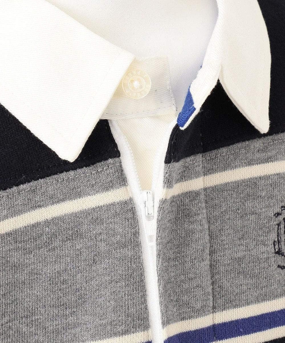J.PRESS KIDS 【110-130cm】裏毛ボーダー パネル切替 ラガーシャツ グレー系1