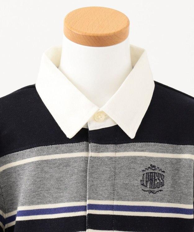 J.PRESS KIDS 【110-130cm】裏毛ボーダー パネル切替 ラガーシャツ