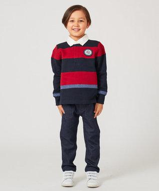 J.PRESS KIDS 【110-130cm】裏起毛 切り替えボーダー ラガーシャツ レッド系2
