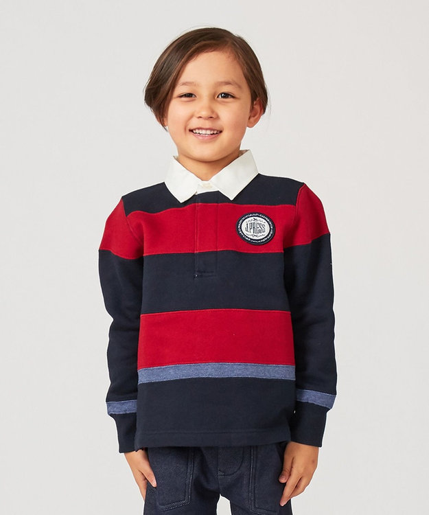J.PRESS KIDS 【110-130cm】裏起毛 切り替えボーダー ラガーシャツ