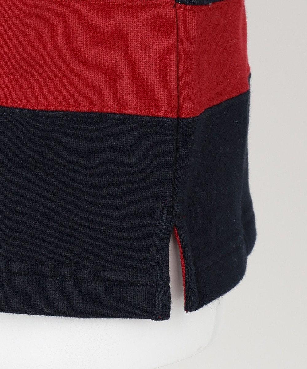 J.PRESS KIDS 【140-170cm】裏毛ボーダー パネル切替 ラガーシャツ ネイビー系1