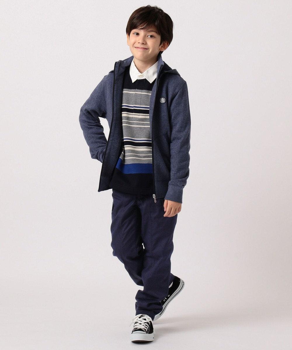 J.PRESS KIDS 【140-170cm】裏毛ボーダー パネル切替 ラガーシャツ グレー系1