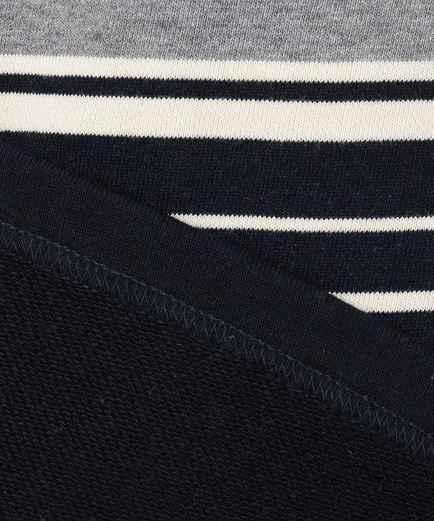 J.PRESS KIDS 【140-170cm】裏毛ボーダー パネル切替 ラガーシャツ