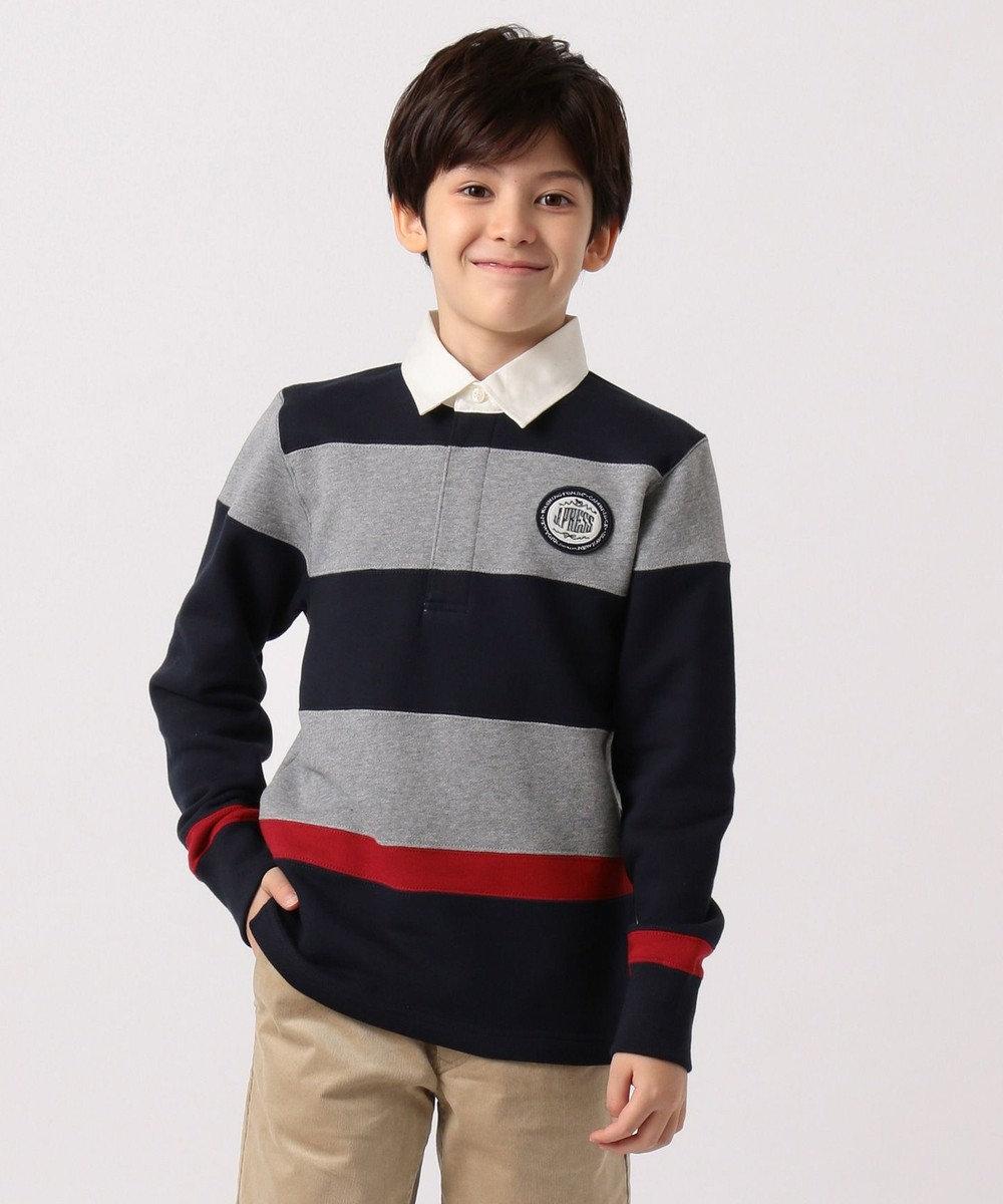 J.PRESS KIDS 【140-170cm】裏起毛 切り替えボーダー ラガーシャツ グレー系2