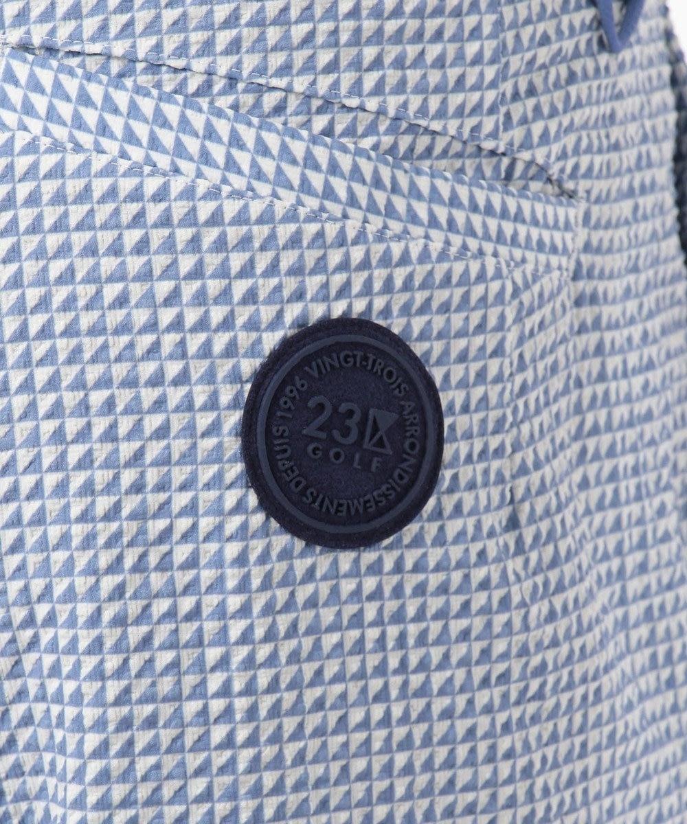 23区GOLF 【MEN】【ストレッチ】サッカー生地 シャークスキン プリント パンツ サックスブルー系5