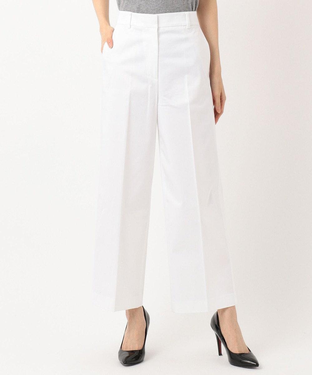 ICB L 【ストレッチ】Cotton Mix Stretch ワイド パンツ ホワイト系