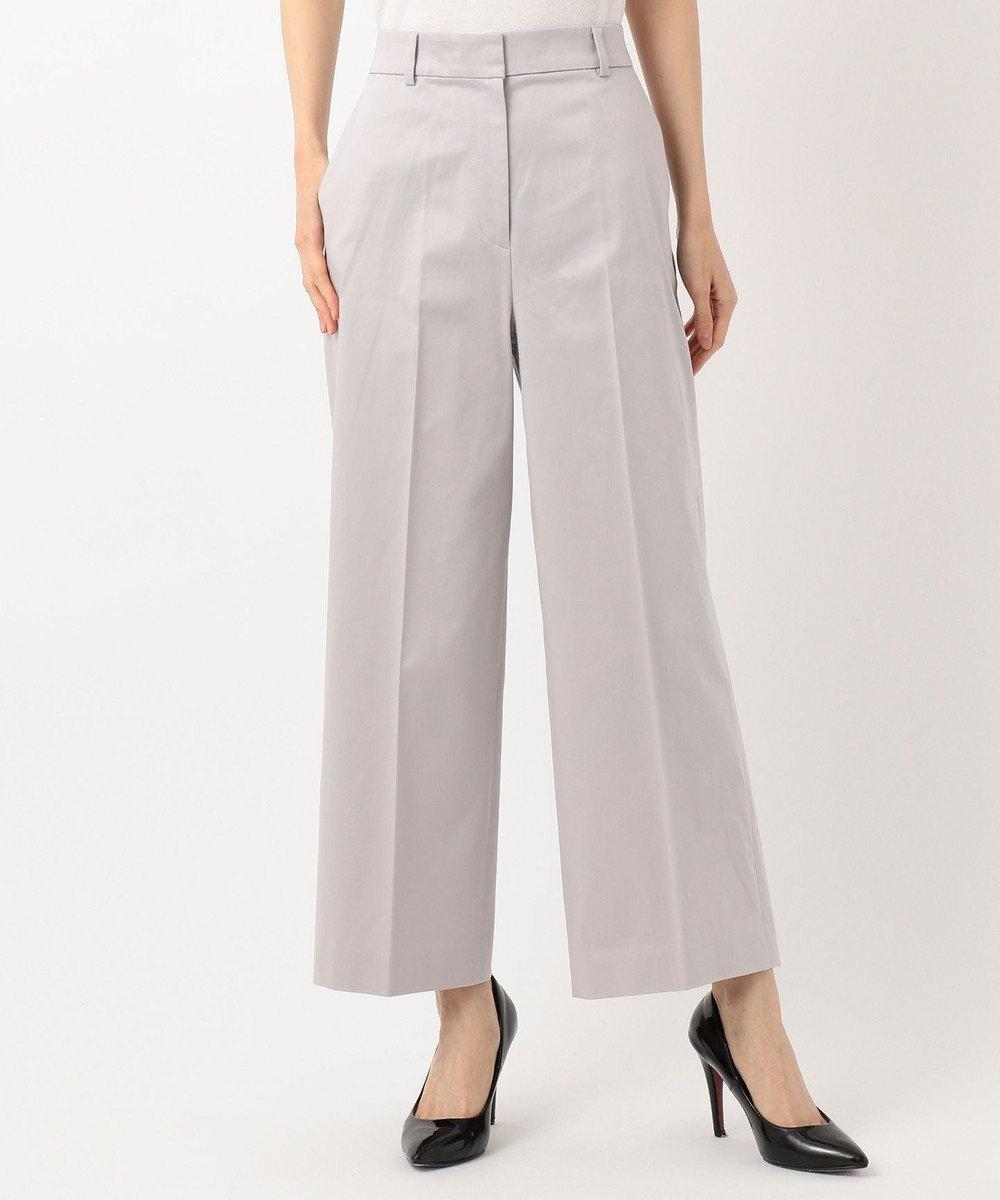 ICB L 【ストレッチ】Cotton Mix Stretch ワイド パンツ ライトグレー系