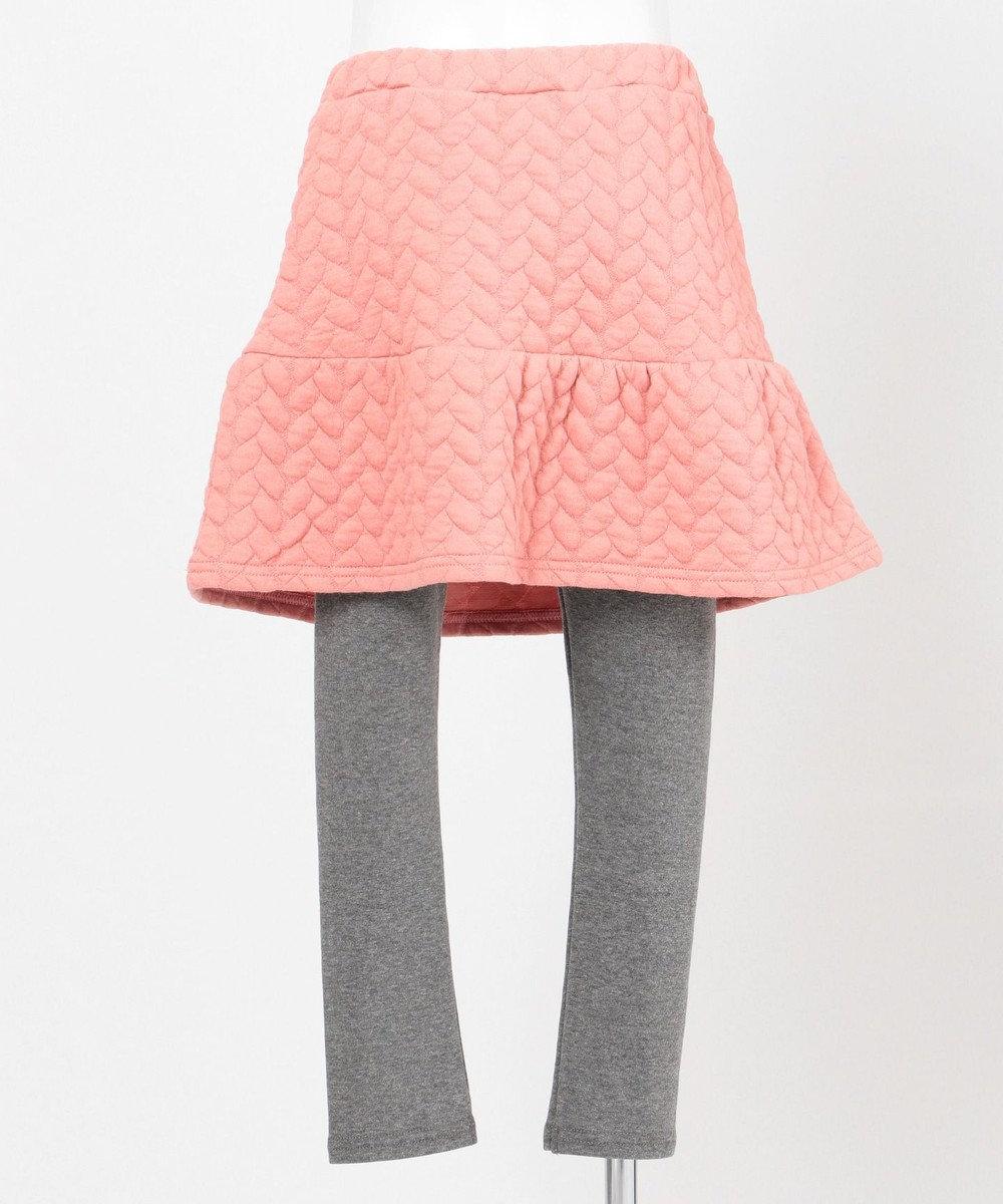 any FAM KIDS 【80~130cm】裏起毛スパッツ付きニットキルトスカート ピンク系