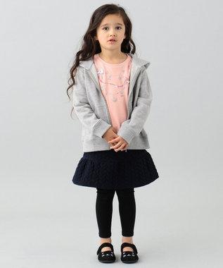 any FAM KIDS 【80~130cm】裏起毛スパッツ付きニットキルトスカート ネイビー系