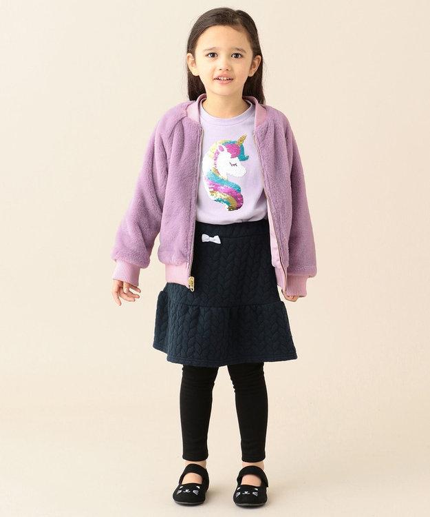 any FAM KIDS 【80~130cm】裏起毛スパッツ付きニットキルトスカート
