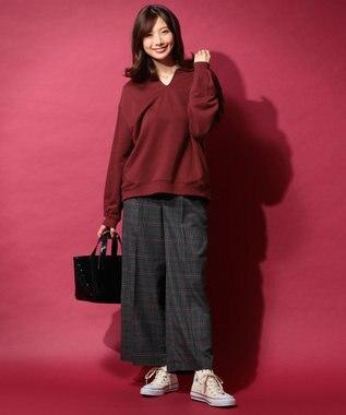 any FAM L 【洗える】TRソフトストレッチ ワイドパンツ グレー系5