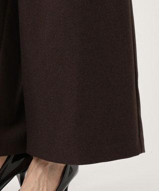 any FAM 【洗える】ウーリッシュフラノ ワイドパンツ ダークブラウン系