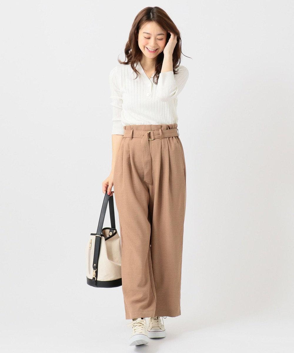 any FAM L 【洗える】リネンライククロス ワイドパンツ ブラウン系