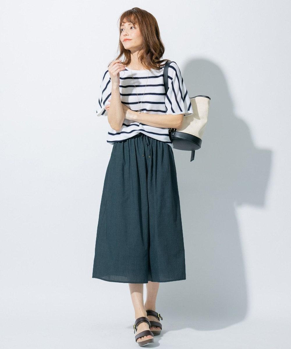 any FAM 【洗える】杢調 ワイドパンツ グリーン系