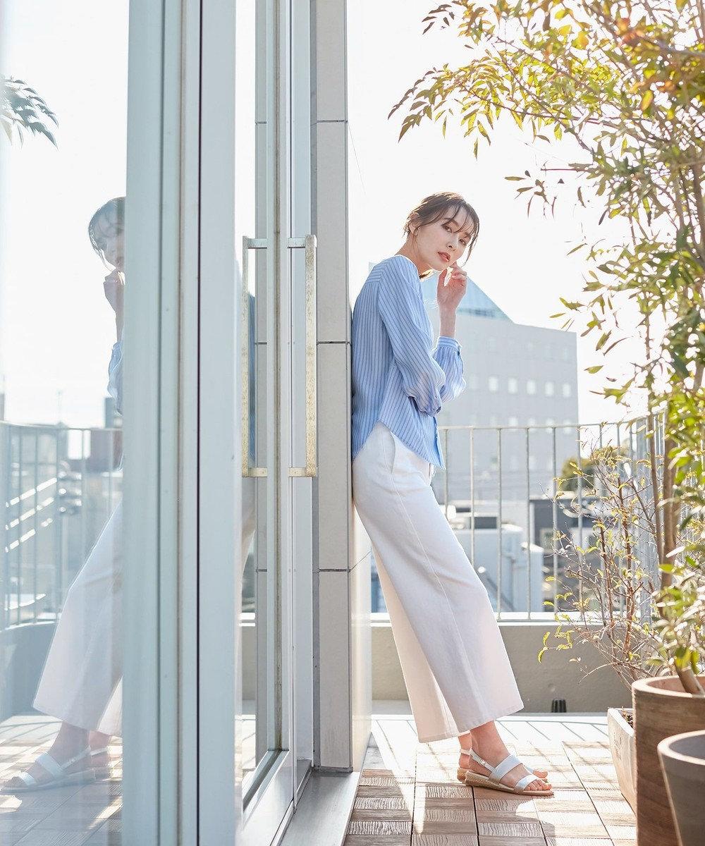 J.PRESS LADIES 【驚異の伸縮率】8.5オンスストレッチデニム ワイドパンツ ホワイト系