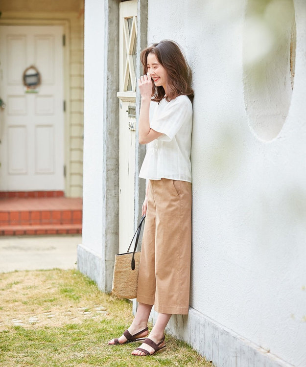 J.PRESS LADIES L 【シワになりにくい】洗えるFITTY FLAX ワイドパンツ