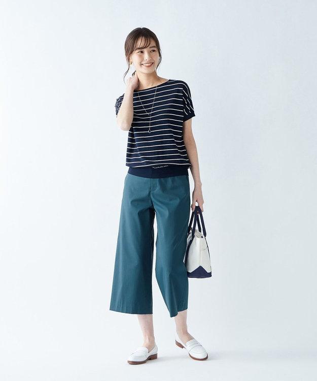 J.PRESS LADIES 【シワになりにくい】コットンフィッティーシャーク ワイドパンツ