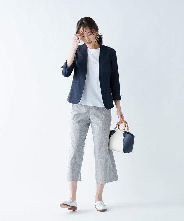 J.PRESS LADIES L 【WEB限定】コットンリネンストライプ ワイドパンツ