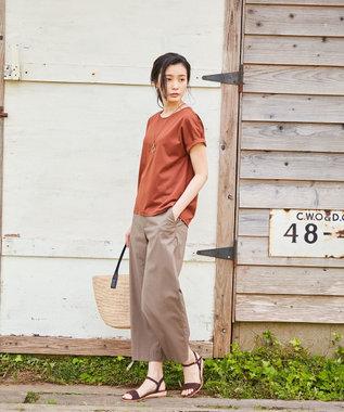 J.PRESS LADIES S 【洗える・軽量】コットンナイロンシルキーローン ワイドパンツ カーキ系