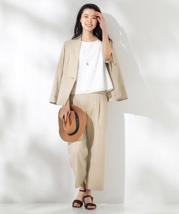 J.PRESS LADIES L 【セットアップ対応】コットンリネンピンヘッド ワイドパンツ