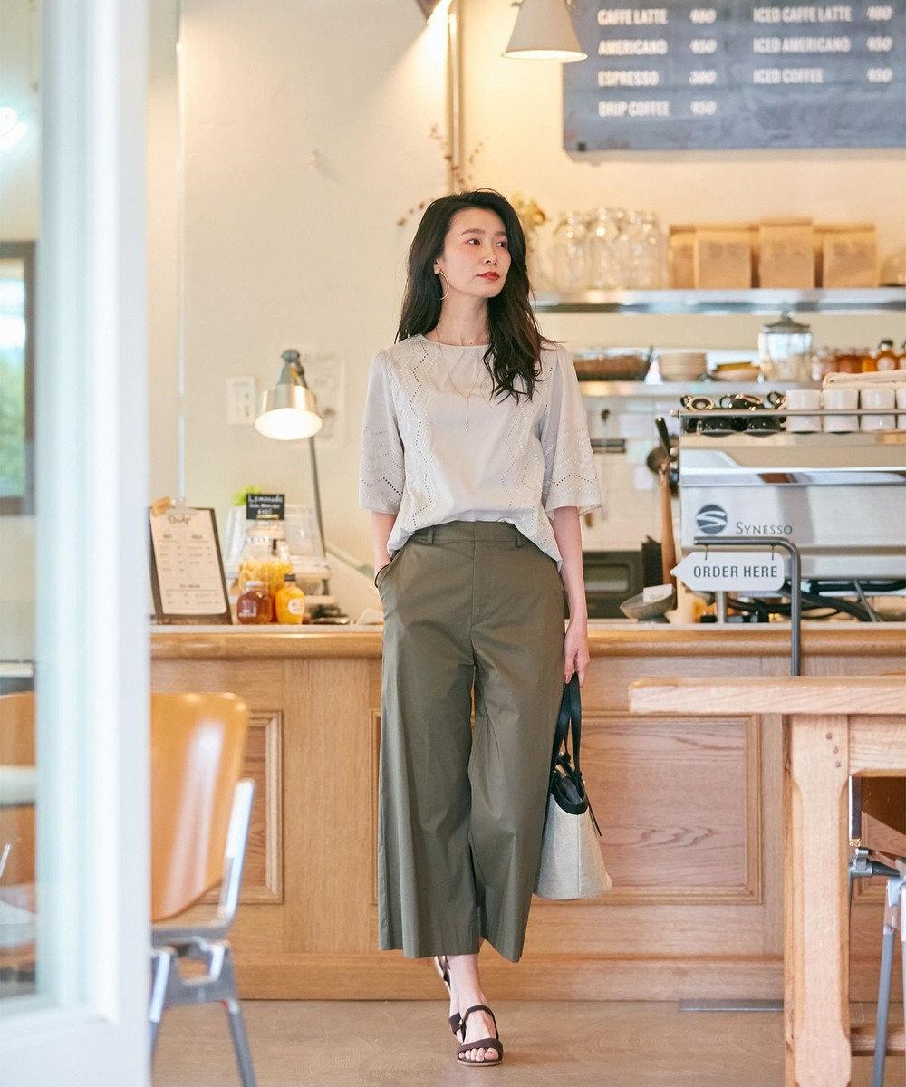 J.PRESS LADIES 【洗える】コットンナイロンシルキーローン ワイドパンツ カーキ系