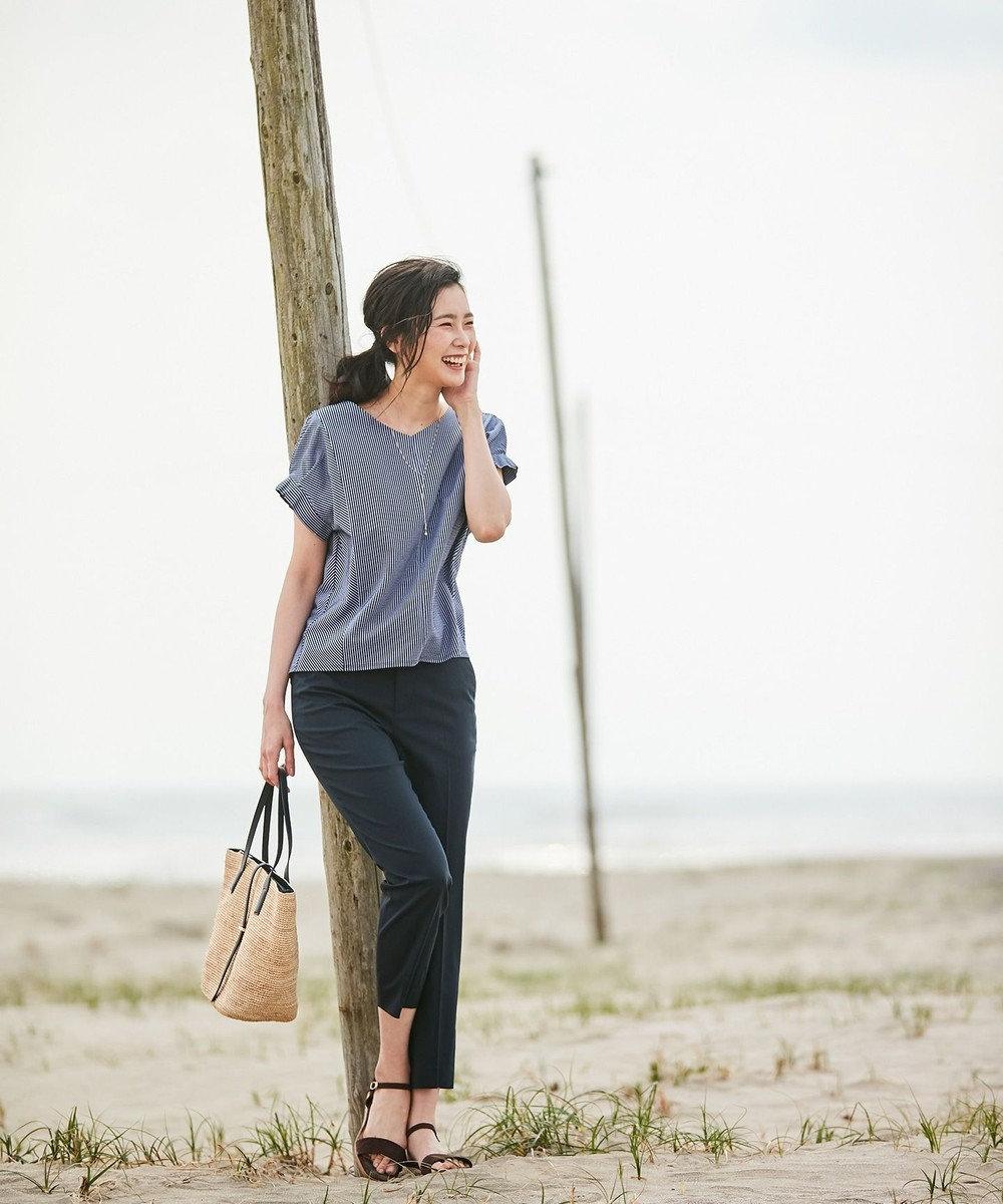 J.PRESS LADIES 【洗える・WEB限定色あり】コットンFITTYシャーク クロップド パンツ ネイビー系