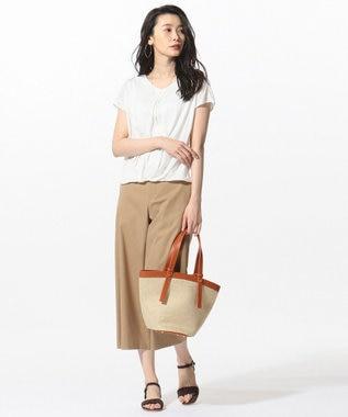 J.PRESS LADIES 【洗える】コットンFITTYシャーク ワイド パンツ キャメル系