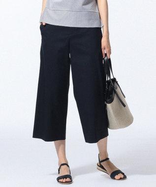 J.PRESS LADIES 【洗える】コットンFITTYシャーク ワイド パンツ ネイビー系