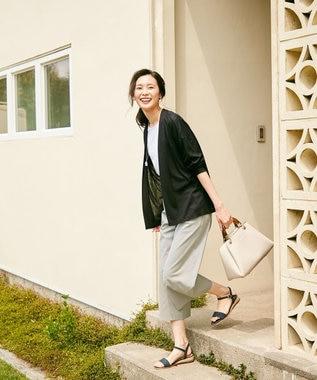 J.PRESS LADIES 【洗える】コットンFITTYシャーク ワイド パンツ グレー系